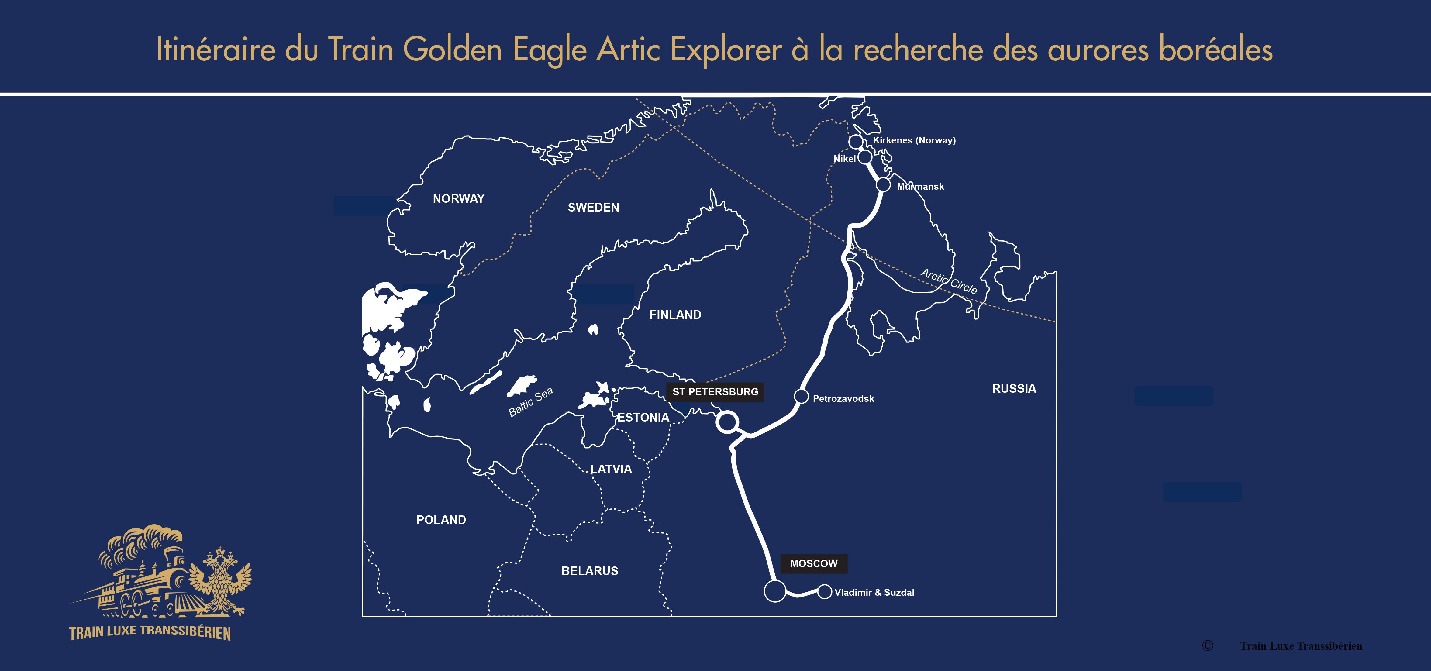 Itinéraire-carte-du-Artic-Explorer-Train-Golden-Eagle-à-la-recherche-des-aurores-boréales