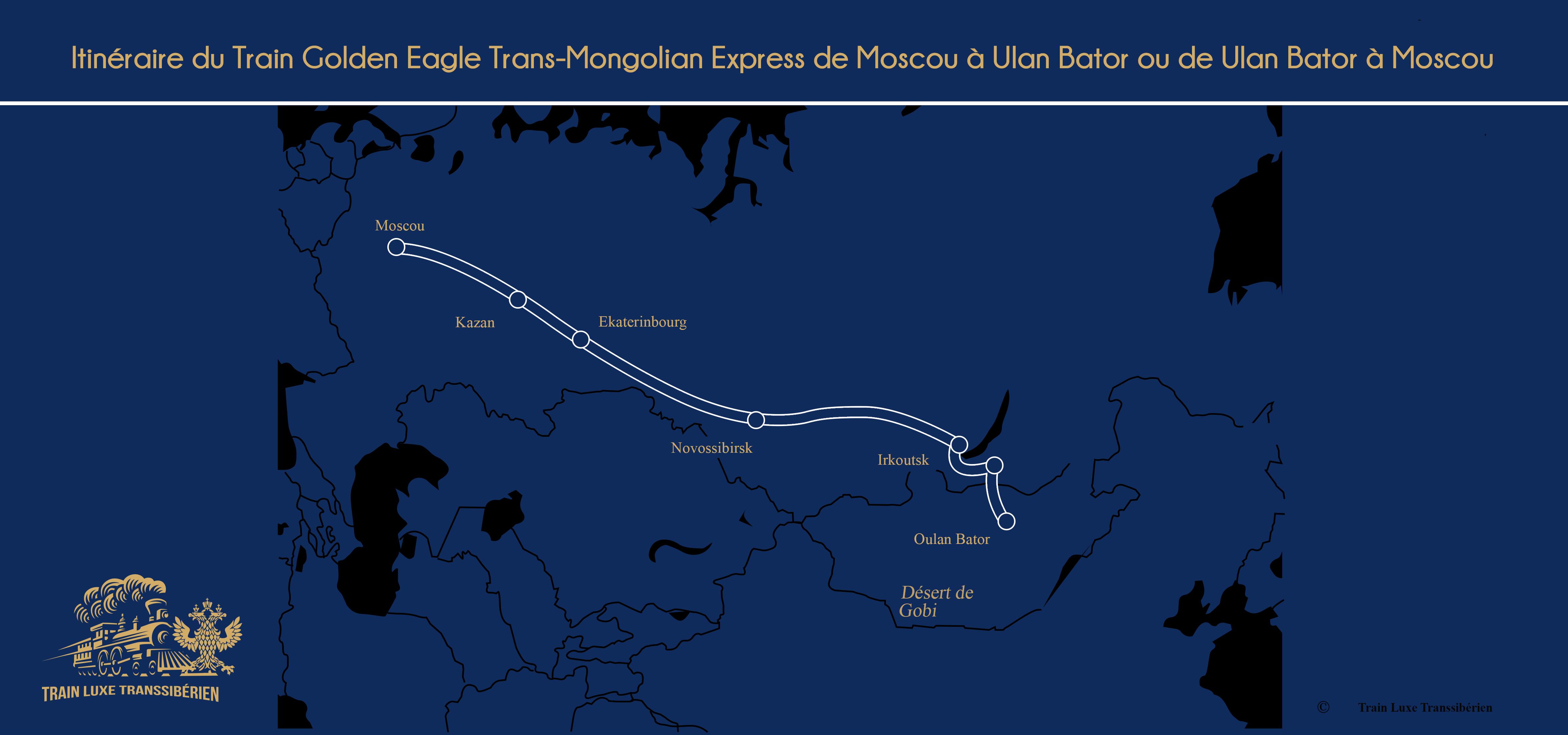 Itinéraire du Train Golden Eagle Trans Mongolian Express de Moscou-à Ulan Bator
